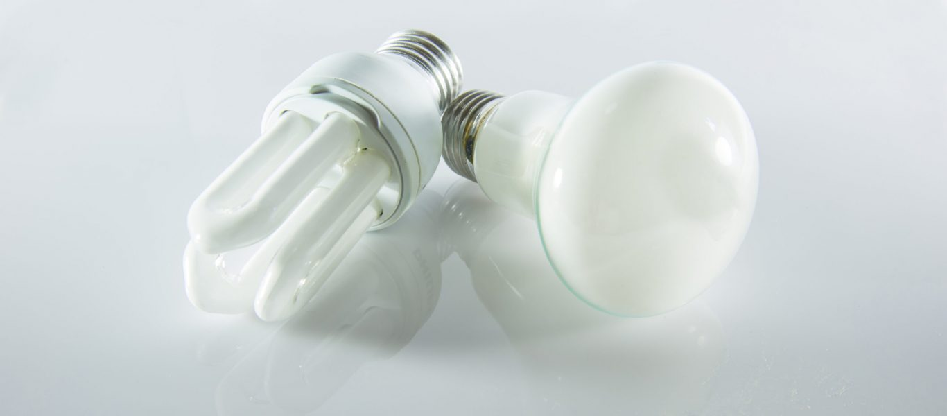 Compact Fluorescent Lamps on white background.
